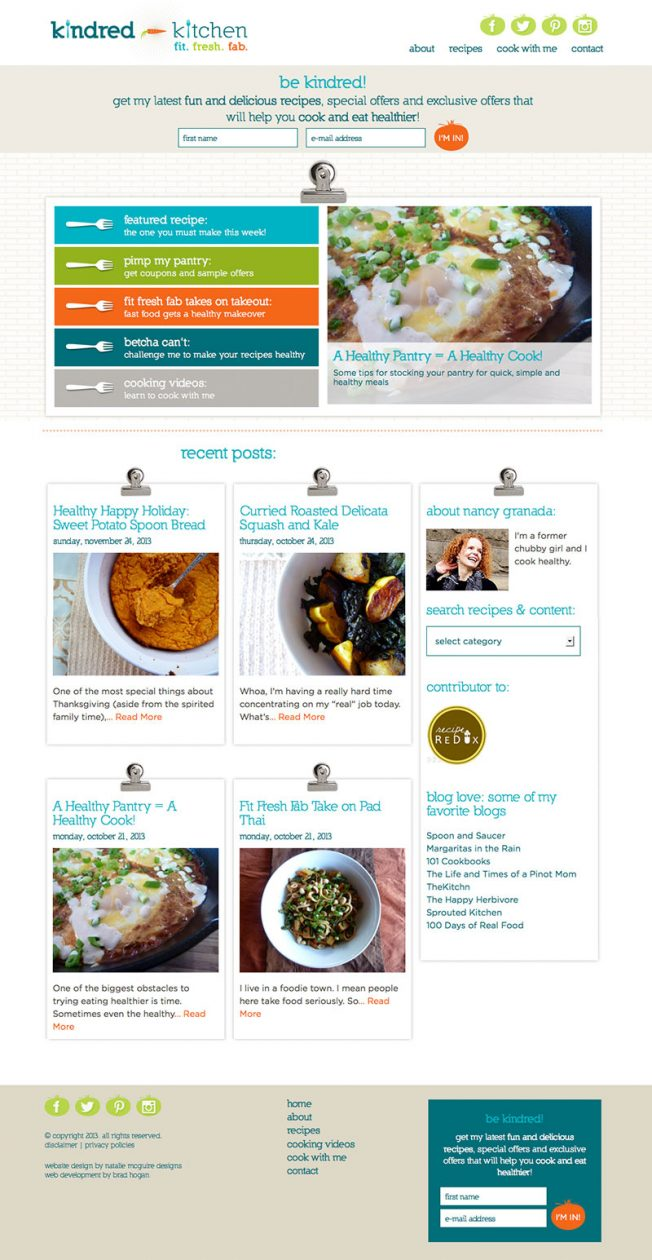 Food Blogger Website Design Portland Natalie Mcguire Designs